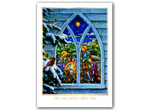 Stained Glass Nativity Christmas Cards
